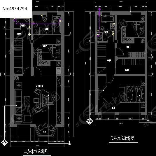 办公楼二三层水位示意图cad素材下载_室内装修设计图片