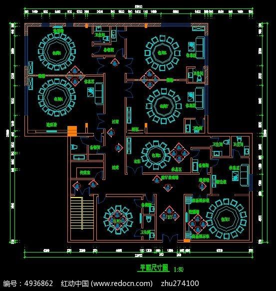 红动网提供室内装修精品原创素材下载,您当前访问作品主题是餐厅装修平面布置尺寸图,编号是4936862,文件格式是CAD,建议使用AutoCAD 2017及以上版本打开文件,您下载的是一个压缩包文件,请解压后再使用设计软件打开,色彩模式是RGB,,素材大小 是364.27 KB,如果您喜欢本作品,请使用上方的分享功能,分享给您的朋友,可以给他们的设计工作带来便利。