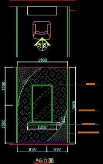 美容店理发处墙面造型立面图 CAD