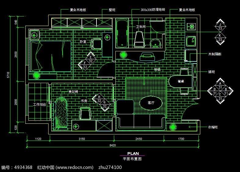 欧式风情小户型平面布置图CAD素材下载 编号4934368 红动网
