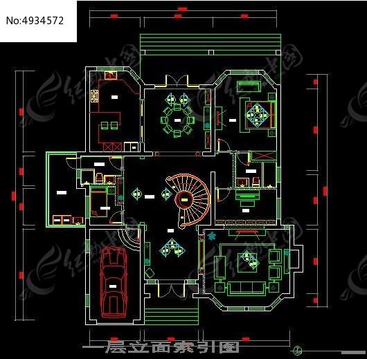 欧式古典风格别墅一层立面索引图