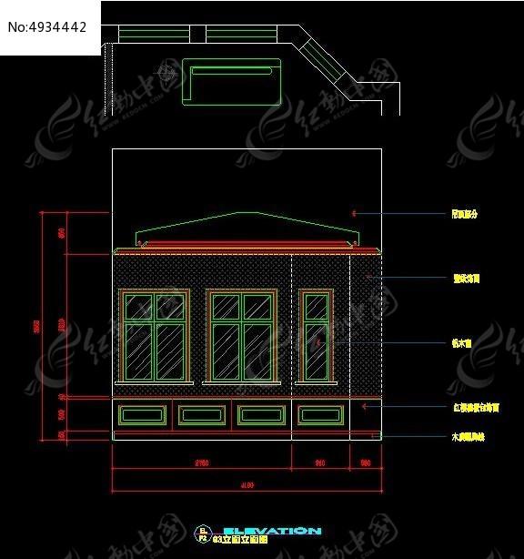 欧式古典风格阳台窗户造型立面图