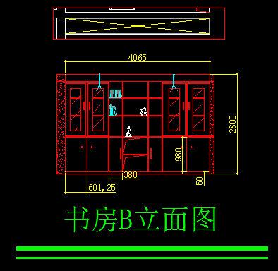 原创设计稿 cad图库 室内装修 书房b立面图  请您分享: 红动网提供图片
