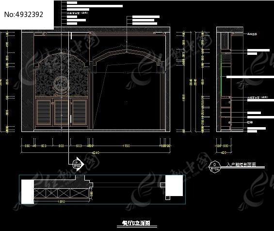 田园欧式风格餐厅墙面边柜立面图