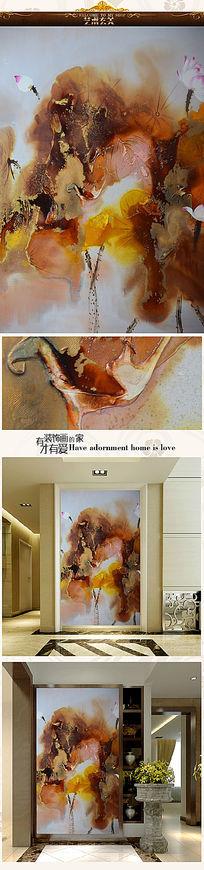 新中式荷韵写意油画艺术玄关图