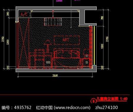 图纸间装修儿童房立面图_CAD样板图片素材2013cad都图纸中是图片