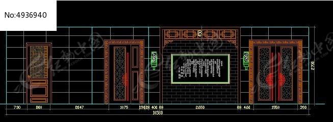 中式餐厅过道墙面装修立面图