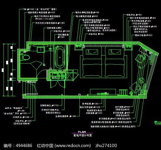 宾馆标间2电路布置图
