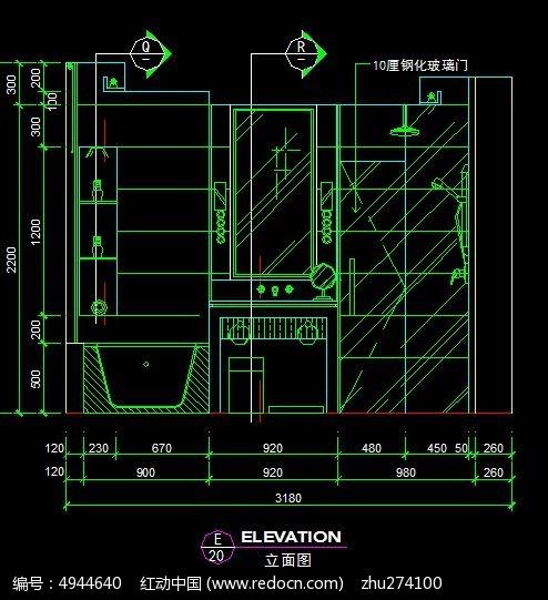 宾馆标准客房卫生间洁具立面图