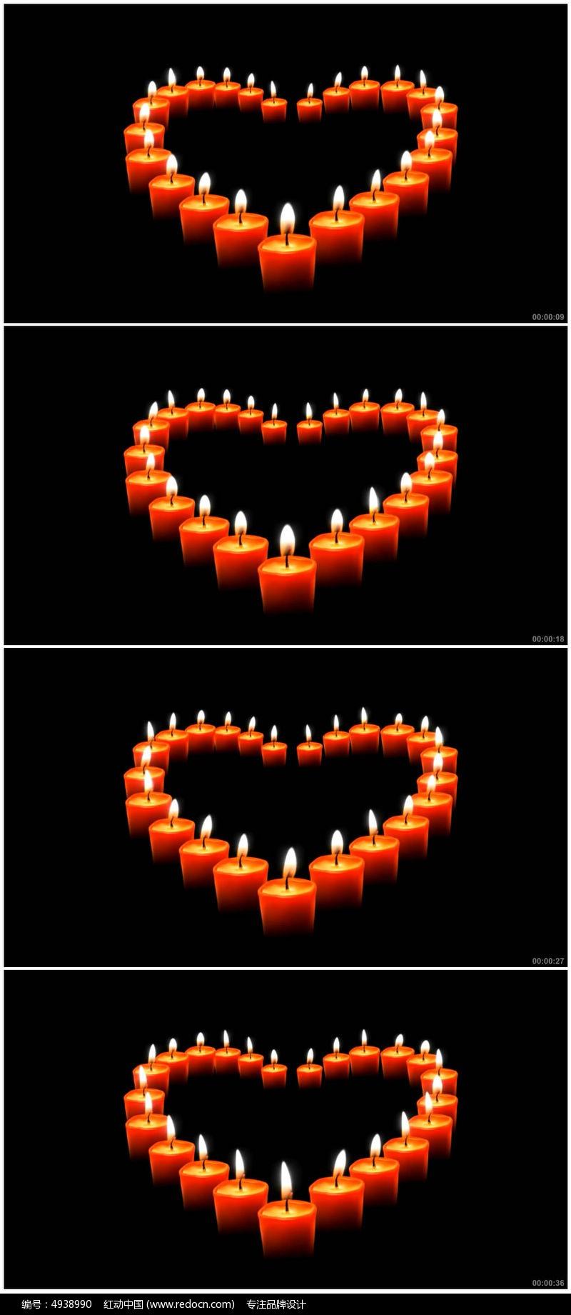 感恩教师节心形红蜡烛视频素材图片