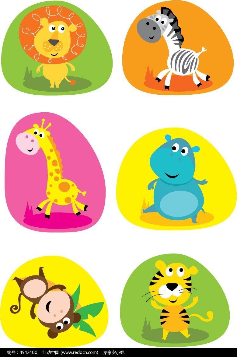 简约可爱的卡通小动物矢量素材图片