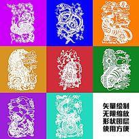 老虎猛兽图腾图案矢量图形绘制卡通