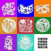 龙纹龙图腾龙矢量形状绘制图案