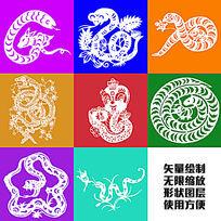 蛇图腾剪纸吉祥图案矢量绘制图形