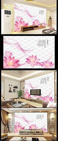 手绘花瓣软包立体电视背景墙