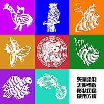 喜鹊小鸟飞鸟剪纸矢量形状装饰图案