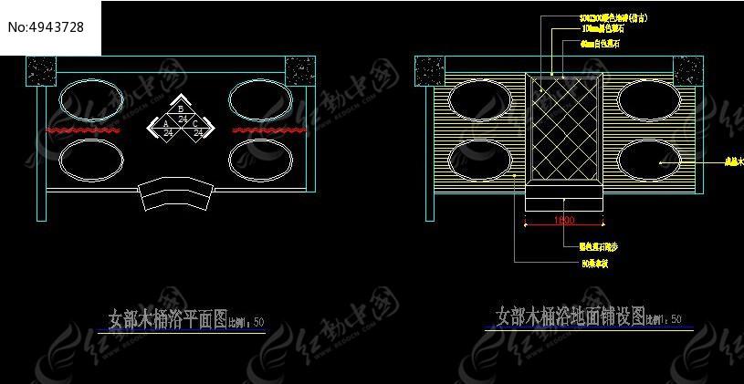 v平面平面女部地面浴木桶及酒店铺装设计图_Ccad中水平什么的是图片