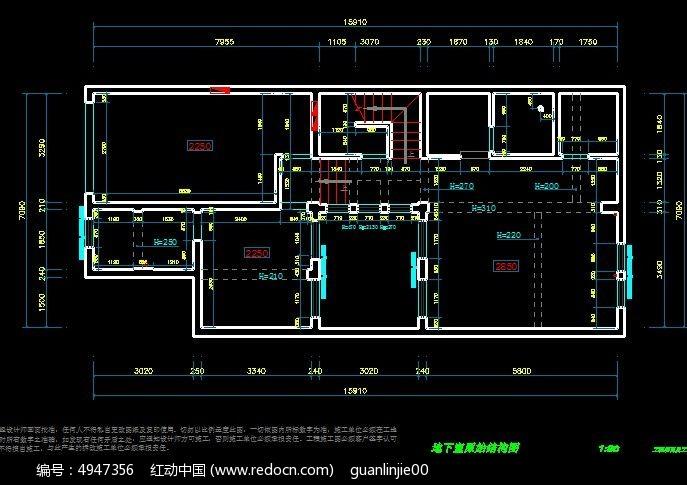 别墅 装修 原始结构图 CAD图纸图片素材