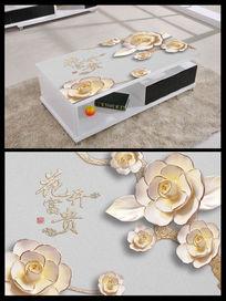 彩雕花开富贵牡丹浮雕桌面背景