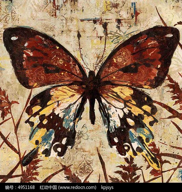 复古蝴蝶装饰画设计图片