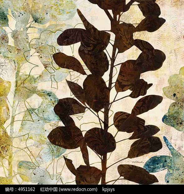 古典树叶装饰画设计图片