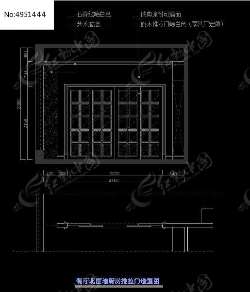 简欧别墅餐厅北面墙厨房推拉门造型图