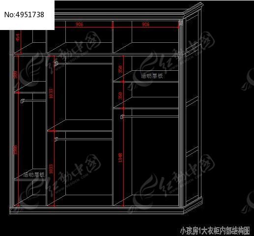 简欧别墅小孩房1大衣柜内部结构图