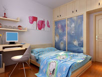简中卧室3D效果力图