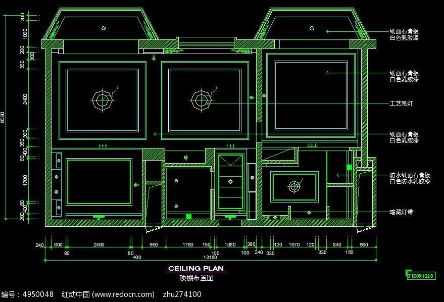 酒店商务房顶棚布置图CAD素材下载 编号4950048 红动网