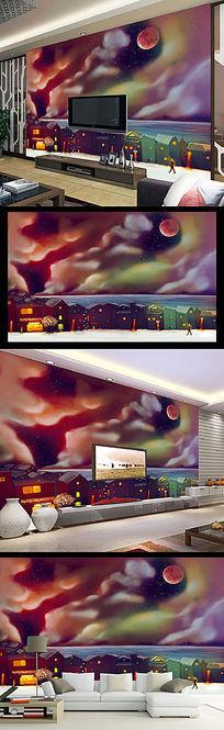 梦幻夜晚手绘卡通电视背景墙