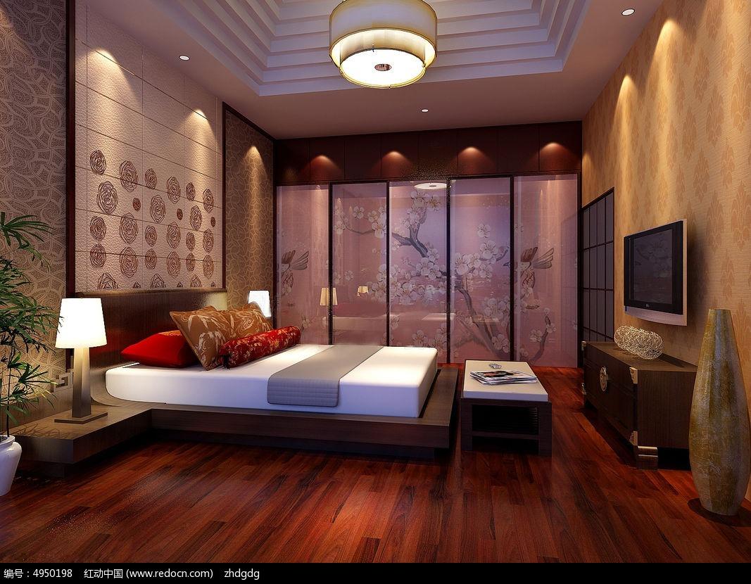 暖色中式卧室效果图3dmax素材下载_室内装修设计图片