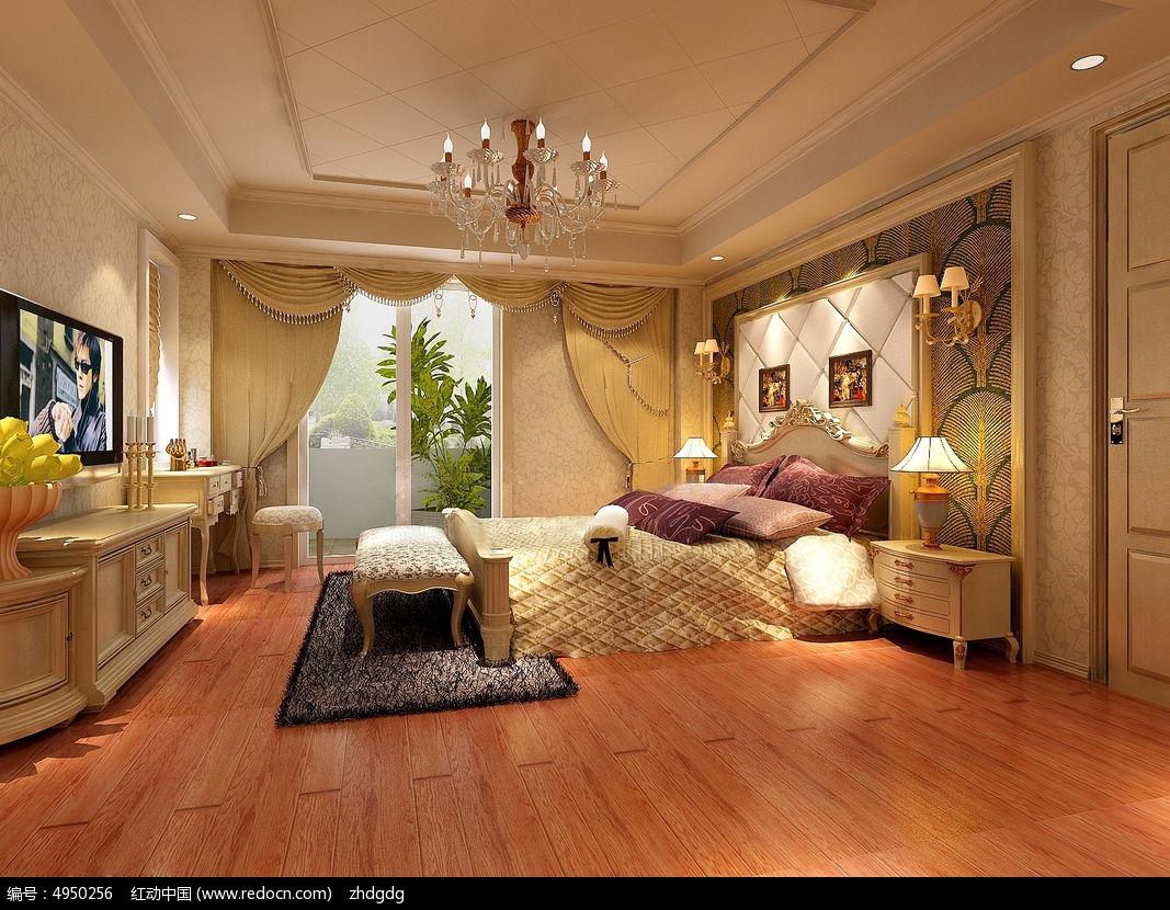 欧式风格卧室效果图3dmax素材下载_室内装修设计图片