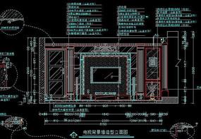 欧式风格装修电视背景墙造型立面图
