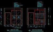 欧式风格装修客房衣柜立面图及客房衣柜内部结构图