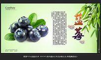 清新唯美水果店蓝莓海报招贴广告设计