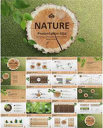 生态环保环境保护木纹PPT模板