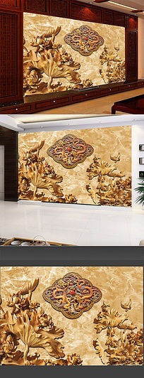 时尚尊贵高雅浮雕电视背景墙