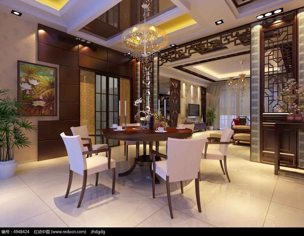 中式餐厅3d效果图