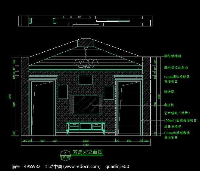 别墅装修客房2C立面图_CAD房子图片素材是意思kt图纸图纸什么图片