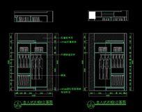 别墅装修走入式衣柜B立面图及走入式衣柜D立面图