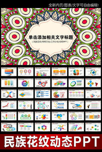 创意时尚传统民族图案花纹ppt模板