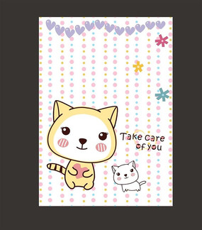 精美记事本可爱猫咪卡通本子封面 CDR