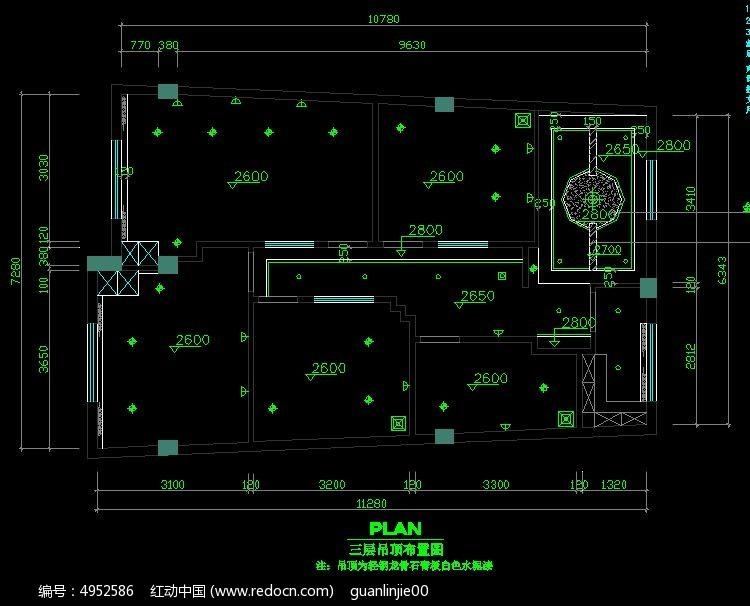 院SPA馆三层吊顶布置图CAD素材下载 编号4952586 红动网