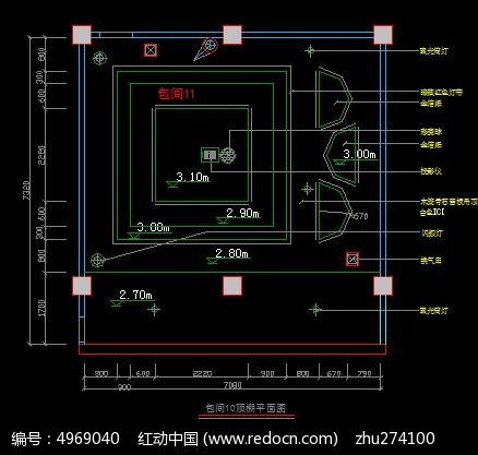 KTV包间10顶棚灯具布置图CAD素材下载 室内装修设计图片