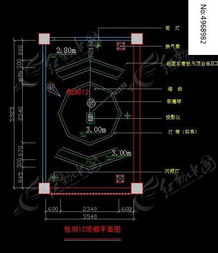 高档ktv包间12顶棚圆形造型平面图