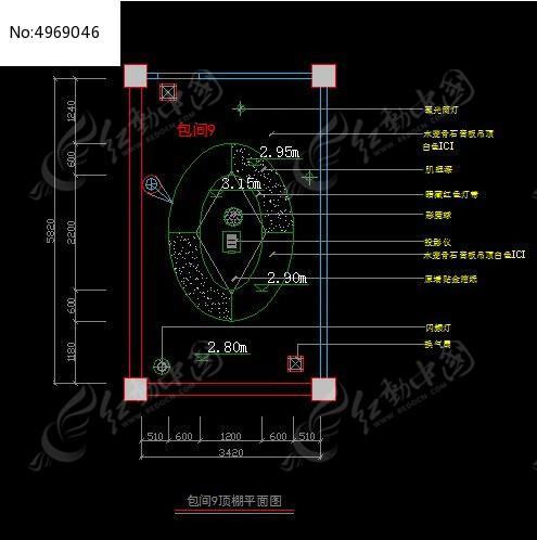 高档KTV门面9图纸图纸施工顶棚图_CAD尺寸三包间风格设计间四灯具层图片