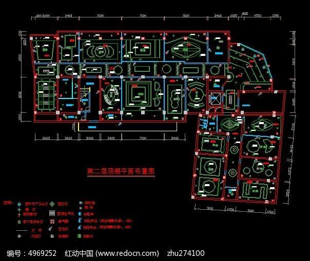 档KTV第二层顶棚天花布置图CAD素材下载 室内装修设计图片