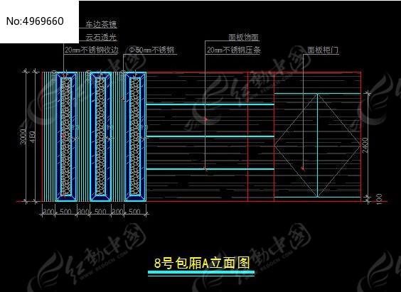 意思包厢皇家KTV8号贵族A立面图_CAD图纸图什么包括图纸酒吧建筑结构图片
