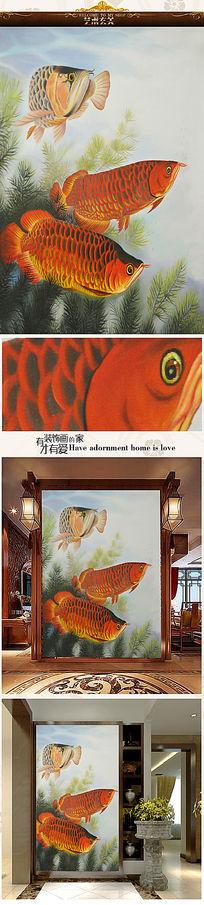 吉祥金龙鱼油画艺术玄关图图片