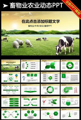 绿色牧场养殖奶牛畜牧业乳业PPT模板